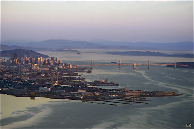 Morning flight. Above San Francisco and bay