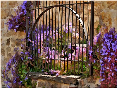 Flowers By The Gate
