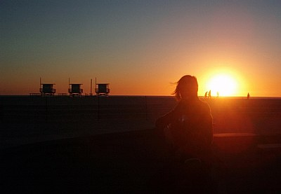 girl.... lonelily at sunset