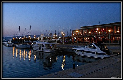 night  falling at the marina...