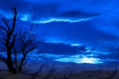 the shiny blue sea