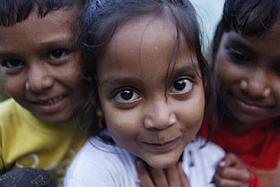 kids, in a village..