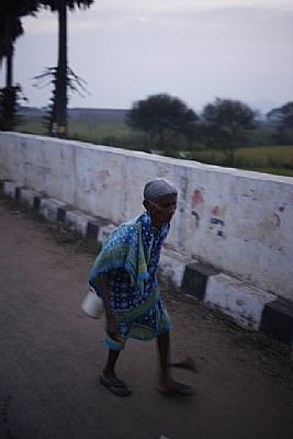 an old lady walking